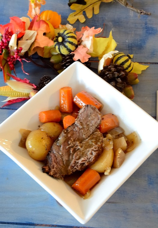 This Slow Cooker Savoury Beef Pot Roast was just the thing when the fall winds turned chilly and damp. A one-pot dinner you can 'fix and forget'!