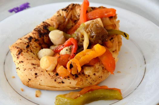 This Grilled Pepper and Scallop in a Phyllo Nest makes a great first course.You can make it the winter under your broiler or on the BBQ in summer.