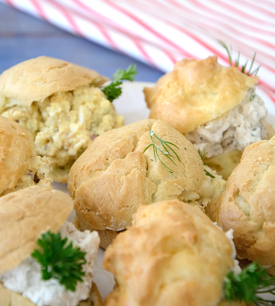 Gourgères filled with egg salad or chicken salad