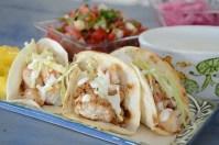 Lime Crema garnish on Chipotle Shrimp Tacos