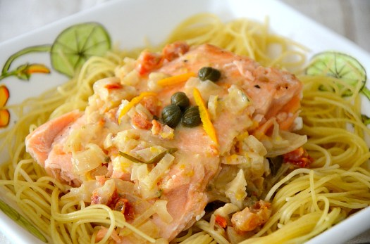 Salmon with Citrus Cream on Angel Hair Pasta