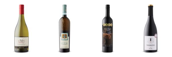 Four wine bottles from recommendations for LCBO Vintages Release Aug, 3, 2019.