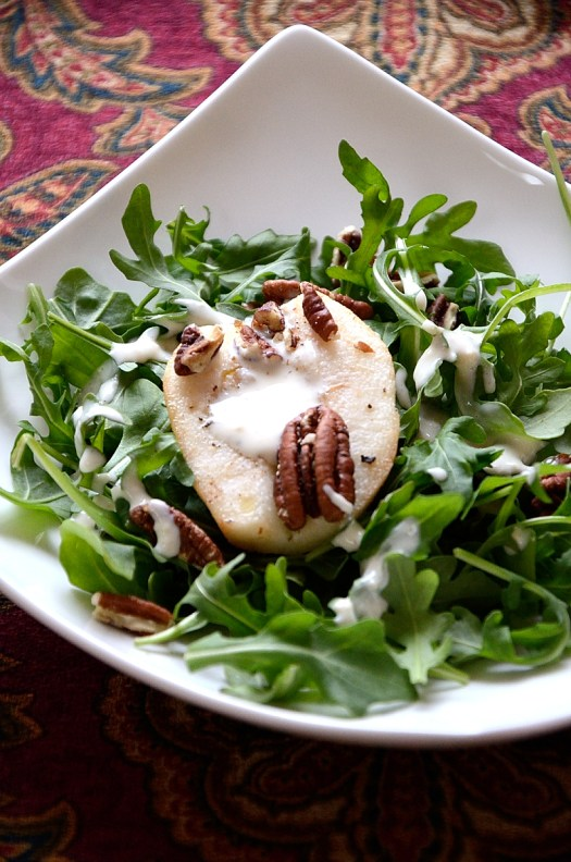 Roasted Pear and Pecan Salad with  Blue Cheese Dressing