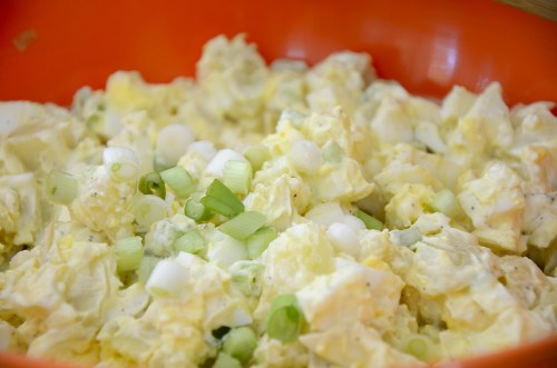 close up of bowl of egg potato salad