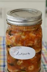 Mason jar of shrimp antipasto