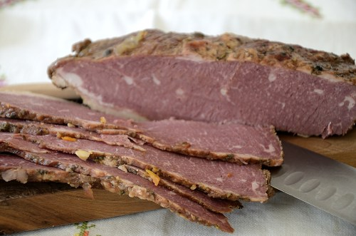 Slices of Corned beef on a cutting board