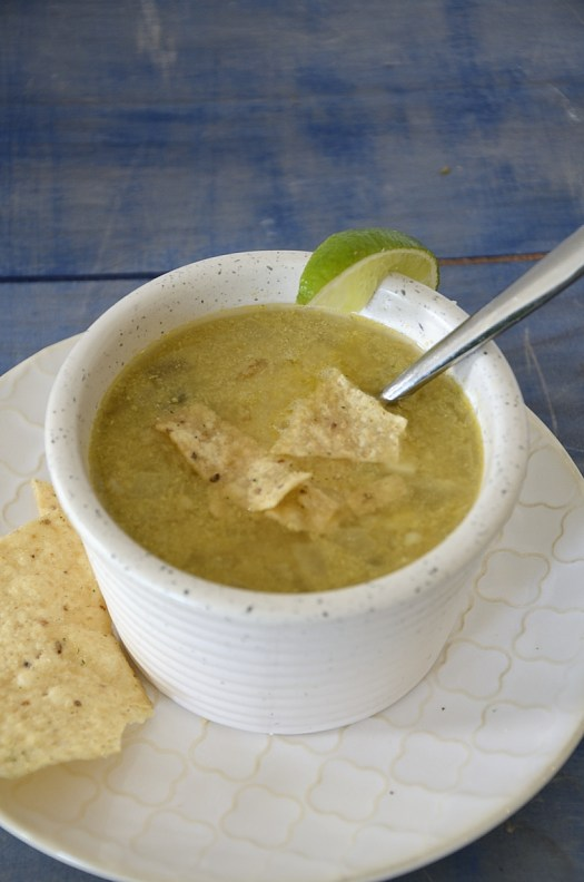 Sweet Corn Soup With Spicy Tortilla Garnish