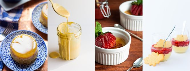 Collage of hollandaise sauce and custards that use up egg yolks.