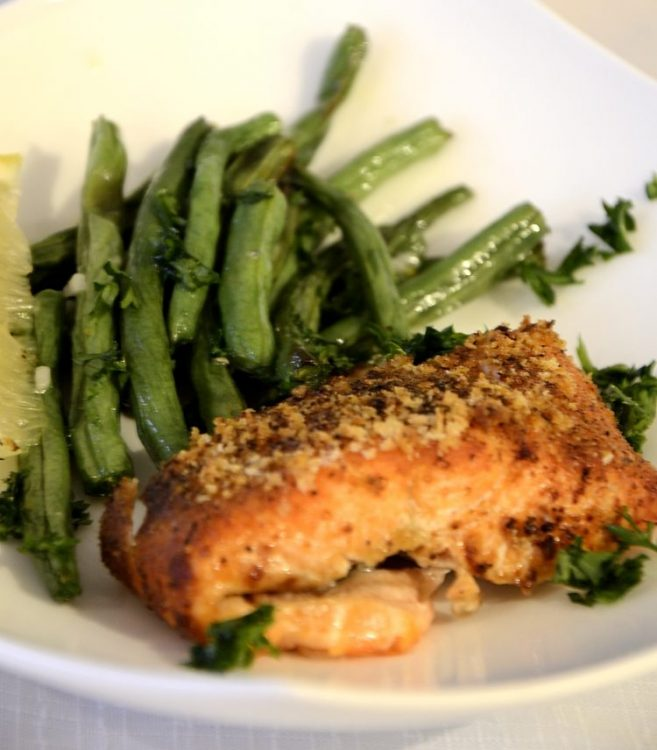 Crispy air fried trout with southwestern spicy crust served with air fried green beans with garlic and parsley.