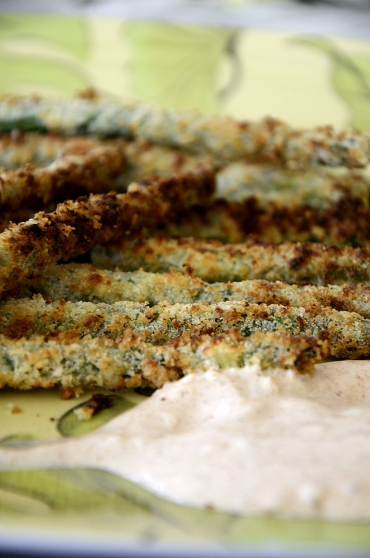 Air Fryer Asparagus Fries With Garlic Dipping Sauce