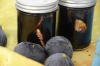 2 half pint jars of figs in balsamic vinegar mixture with fresh figs beside the jars.
