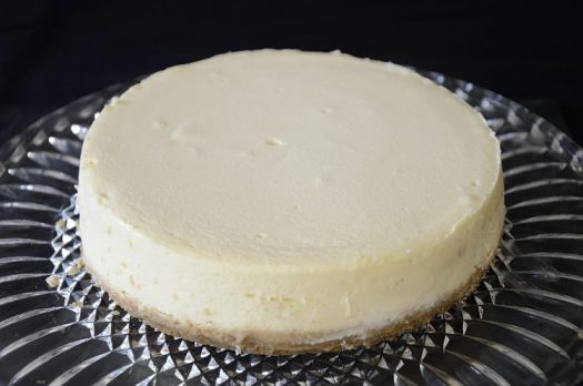 Basic vanilla cheesecake fresh out of the slow cooker.