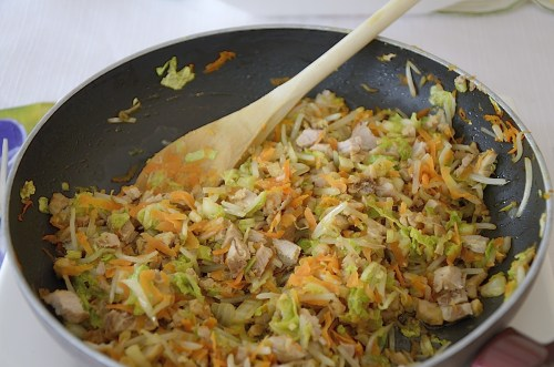 Fried cabbage, carrot, bean sprouts for egg roll filling.