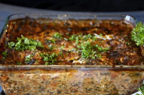 Ottolenghi lasagne in pan fresh out of the oven.