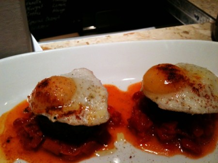 morcilla and quail's egg