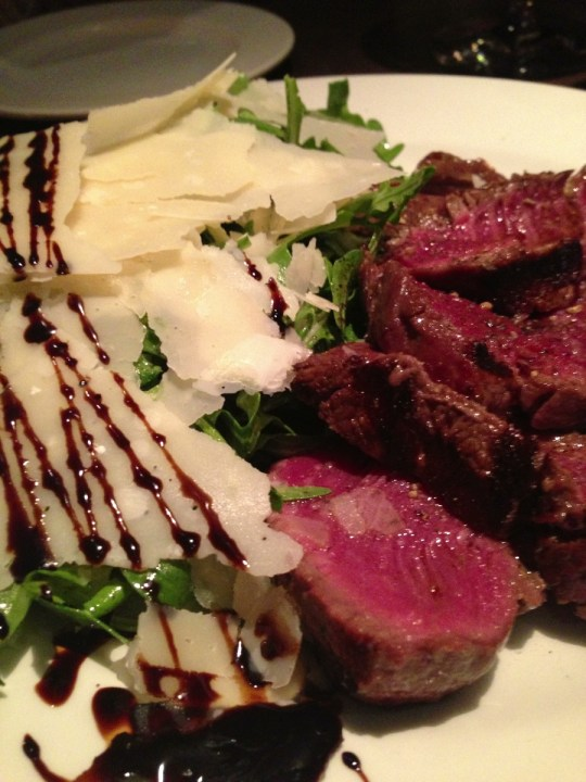 medium rare steak and parmesan & rocket salad
