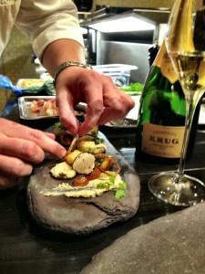 preparing the foie gras