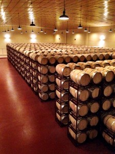 barrel room at Bodegas Inurietta