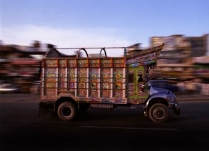 Decorated Pakistani goods truck passing down the Grand Trunk Road