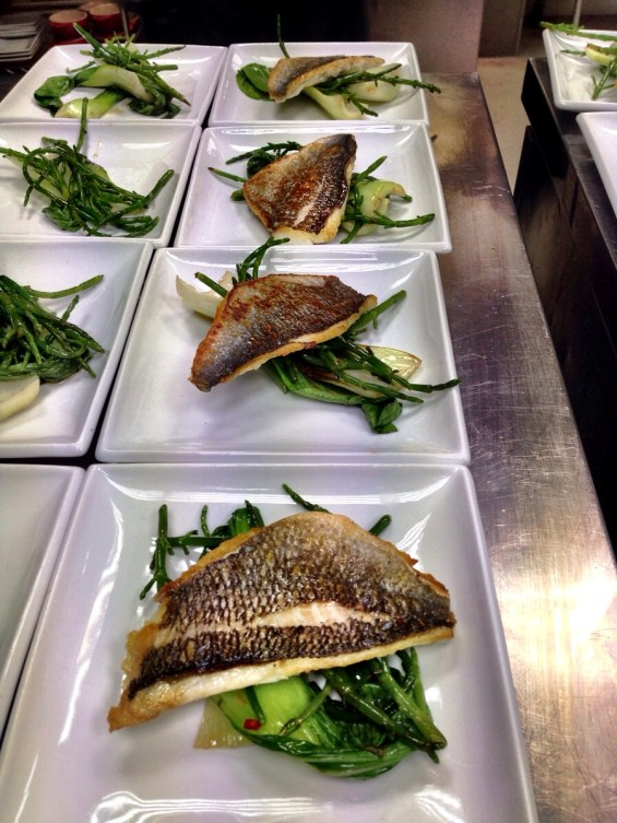 finished dish, bream and bok choy
