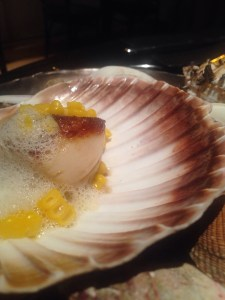 Roasted Isle of Orkney scallops with cauliflower puree, cep fondue sweet corn