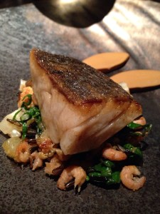 Pan fried stone bass, caramelized cauliflower, wild rice, brown shrimps, swiss chard