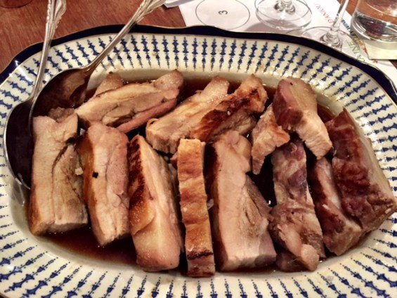 pork belly paired with red Touraine wine France