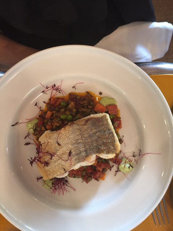 Roasted Hake with chorizo and lentils, lunch at  Inn the Park, St James Park, London