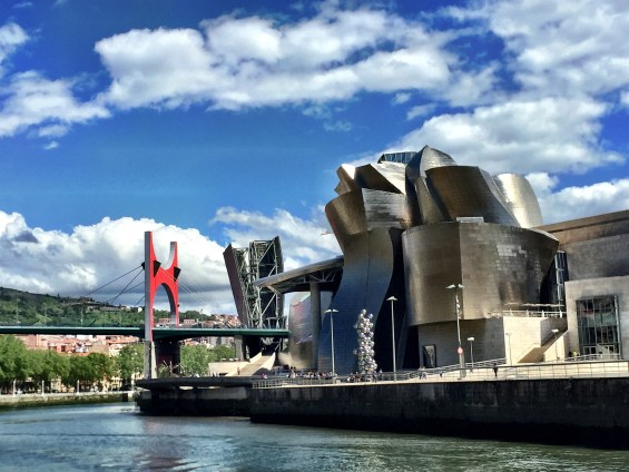 riverside view of the Guggenheim museum in Bilbao, Basque Country, Spain