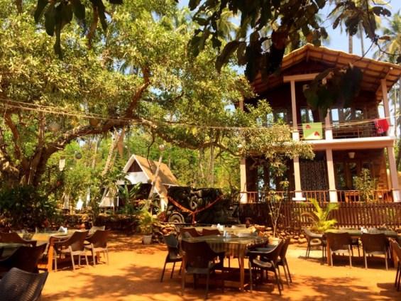 dining alfresco at La La Land restaurant in Goa, India