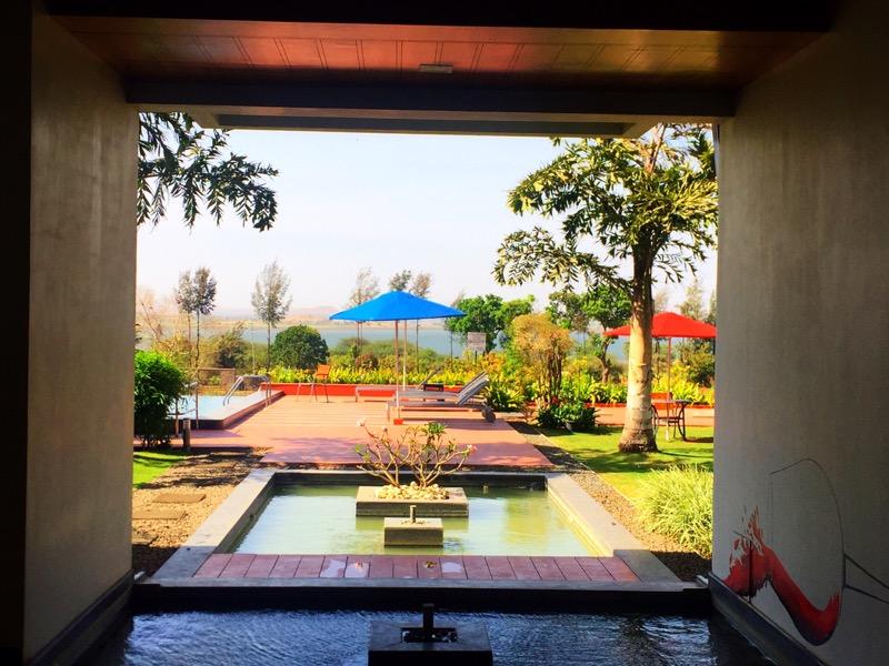 pool and gardens at Soma Vineyards and Resort, Nashik Valley, Maharashtra, India