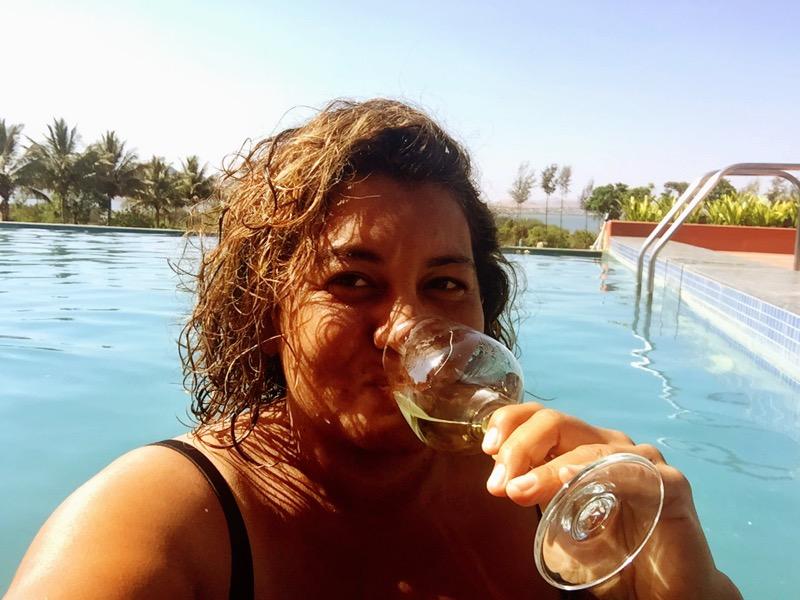 The Winesleuth enjoying a glass of Sauvignon Blanc at  Soma Vineyards and Resort, Nashik Valley, Maharashtra, India
