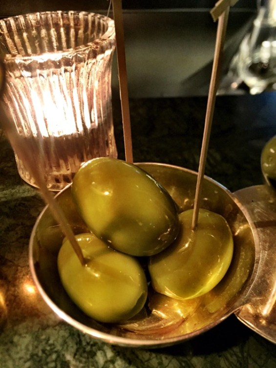 gorgeous Italian olives as part of the aperitifs,Margot restaurant, Covent Garden, London