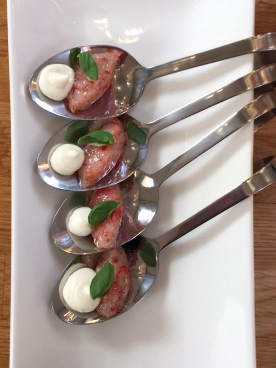 Sicilian Red Prawn tartare, marinated in sweet chili and burrata mousse. Paired with the Contessa , recipe by Chef Danilo Cortellini, Italian Embassy, Masterchef Professionals, London
