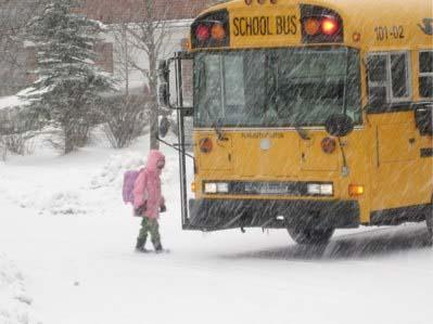 Kid going to school in snow