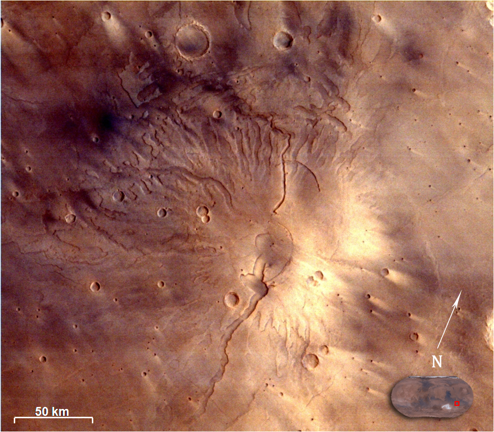 Image of Tyrrhenus Mons in Hesperia Planum region taken by Mars Colour Camera on February 25, 2015, at a spatial resolution of 166 m from an altitude of 3192 km. Credit: ISRO
