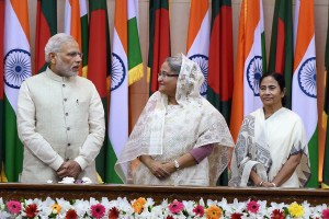 Prime Minister Narendra Modi with his Bangladeshi counterpart Sheikh Hasina and West Bengal Chief Minister Mamata Banerjee. Credit: PTI Photo