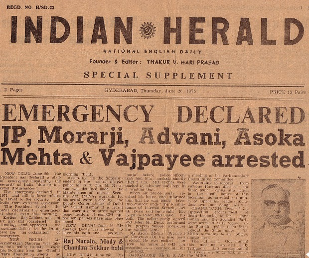 Front page of Indian Herald announcing the imposition of the Emergency on June 26, 1975.