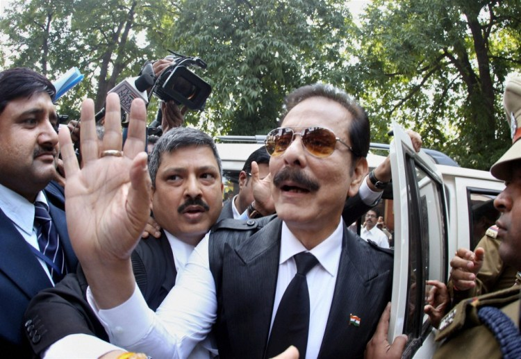 File picture of the Chairman of Sahara India Pariwar Subrata Roy, as he arrives at the Supreme Court for a hearing in 2014. PTI Photo by Shahbaz Khan.