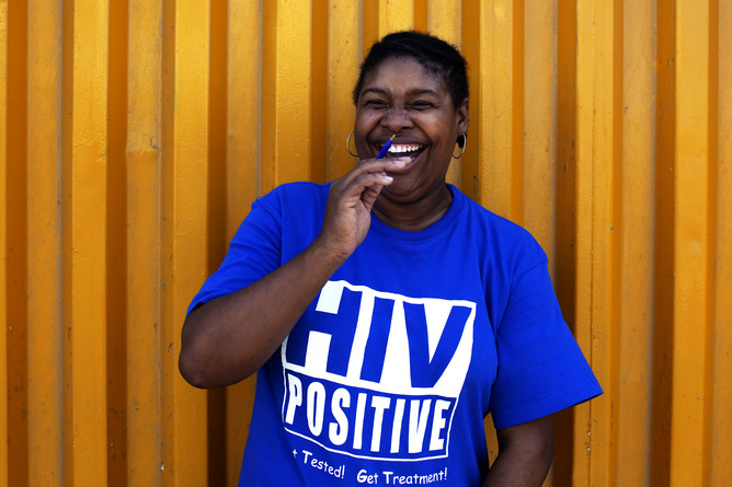 HIV positive t-shirts have been distributed to reduce the stigma attached to the disease. This would have been unthinkable 30 years ago. Credit: Finbarr O'Reilly/Reuters
