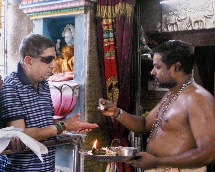 WON'T YOU SAY A PRAYER FOR ME: File picture of BCCI President N Srinivasan at a temple  in Chennai. PTI Photo.