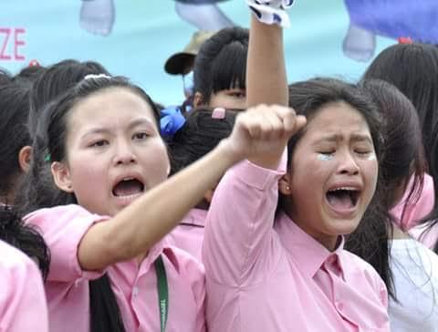 School-girls protesting.