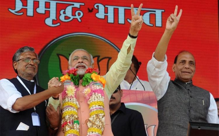 Modi at Hunkar Rally (Narendra Modi Flikr)