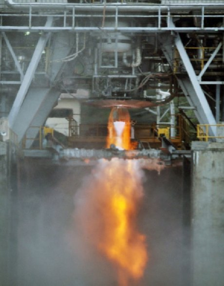 An indigenous cryogenic engine being tested. Source: ISRO