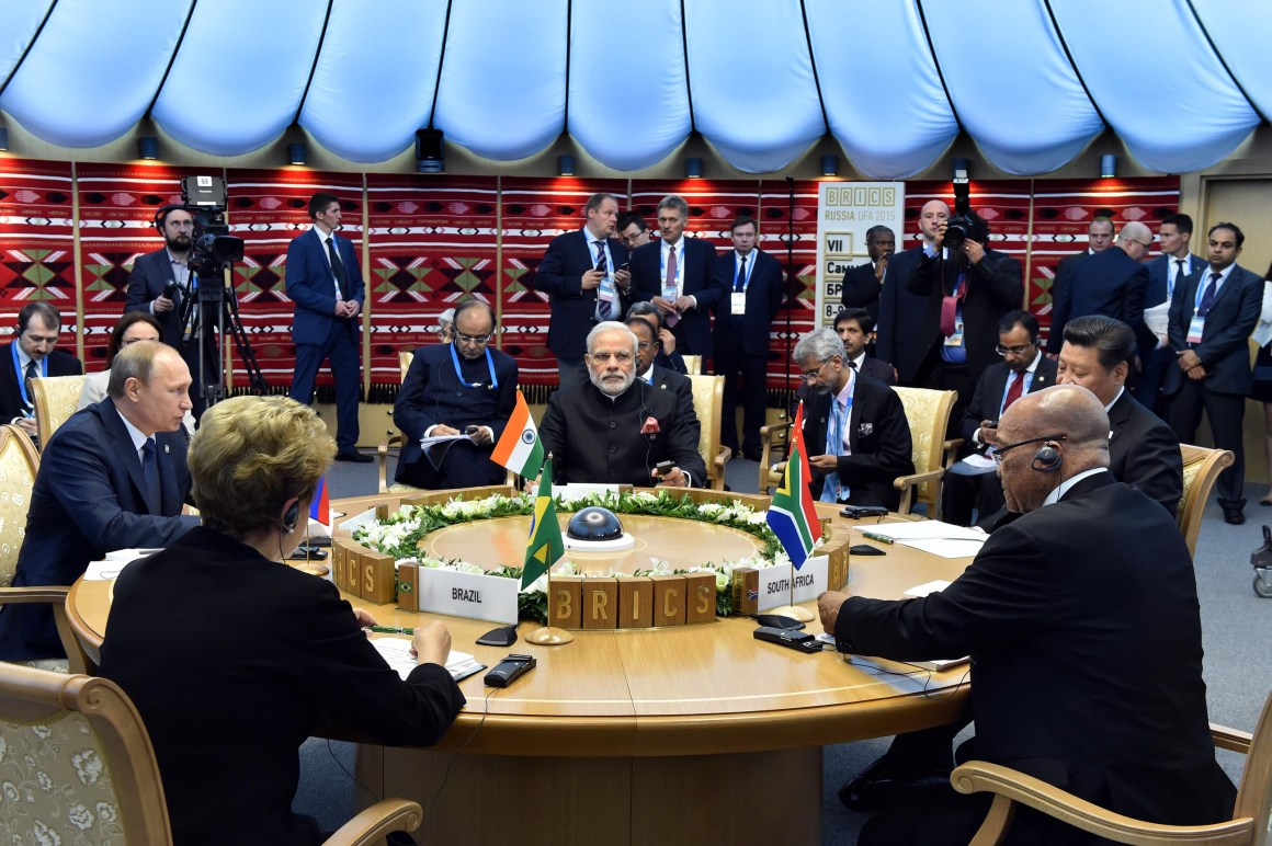 A HIGH TABLE OF OUR OWN: Presidents Vladimir Putin, Dilma Roussef, Jacob Zuma and Xi Jinping with Prime Minister Narendra Modi during the BRICS Leaders Meeting in Ufa, Russia, in July 2015. Credit: Elmond Jiyane, GCIS, CC 2.0