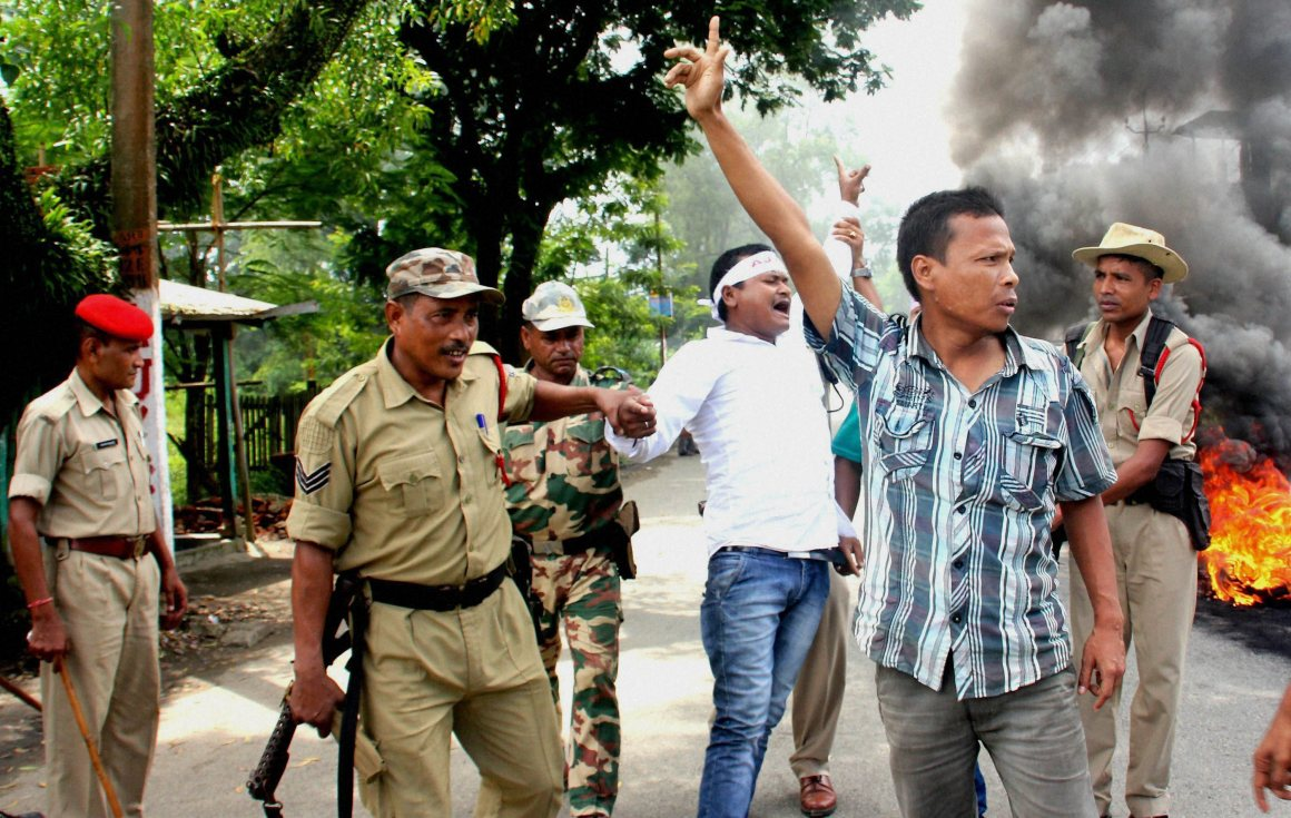 Margherita: Asom Jatiyatabadi Yuva Chatra Parishad AJYCP and others protesting against Modi''s decision to grant citizenship to non-Muslim immigrants n Tinsukia, Assam. Credit: PTI Photo