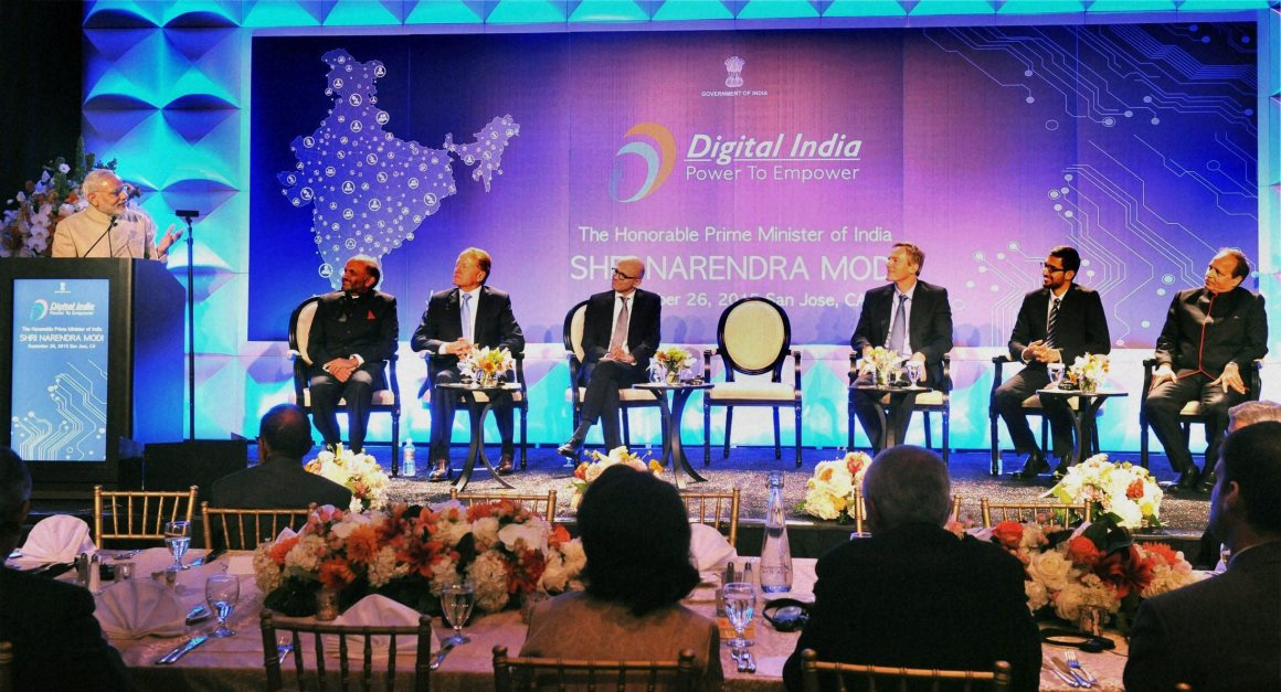 Prime Minister Narendra Modi at the Digital India and Digital Technology dinner function in San Jose. Microsoft CEO Satya Nadella (3rd L), Google CEO Sundar Pichai (2nd R) and others are present. Credit: PTI