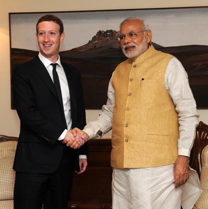 Facebook CEO Mark Zuckerberg meets Prime Minister Narendra Modi. Credit: Wikimedia Commons