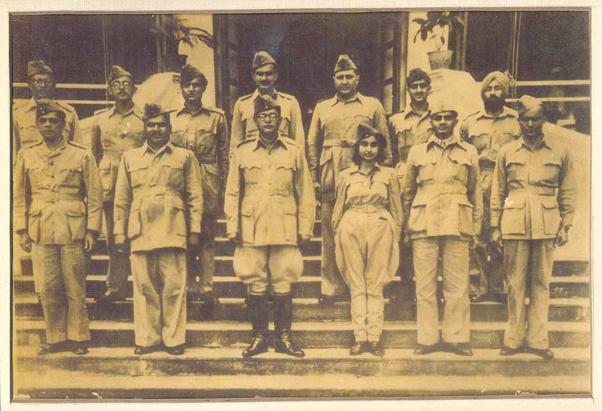Netaji Subhas Chandra Bose and Members of the Azad Hind Fauj in the 1940's.