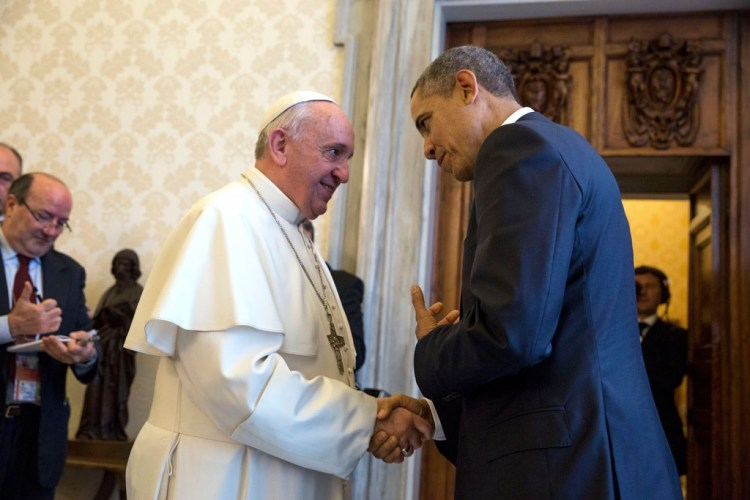 Pope Francis with President Barack Obama at the Vatican last year. (Official White House Photo by Pete Souza) This official White House photograph is being made available only for publication by news organizations and/or for personal use printing by the subject(s) of the photograph. The photograph may not be manipulated in any way and may not be used in commercial or political materials, advertisements, emails, products, promotions that in any way suggests approval or endorsement of the President, the First Family, or the White House.